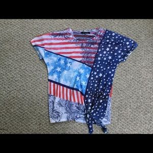 Patriotic red white and blue polyester top